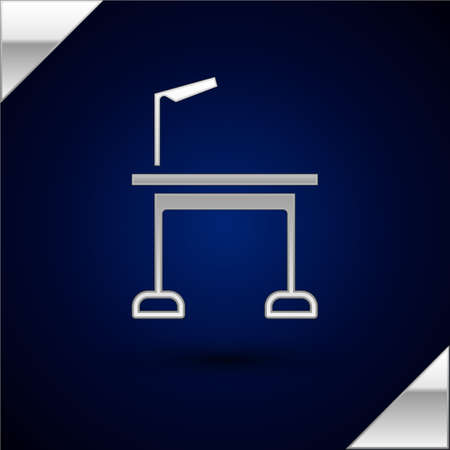 Silver Pet grooming table icon isolated on dark blue background. Vector