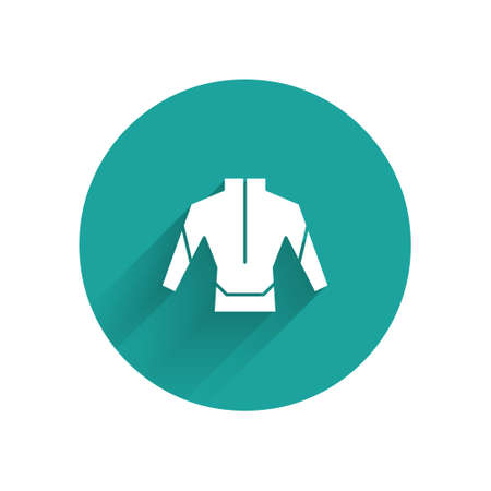 White Wetsuit for scuba diving icon isolated with long shadow. Diving underwater equipment. Green circle button. Vector Иллюстрация