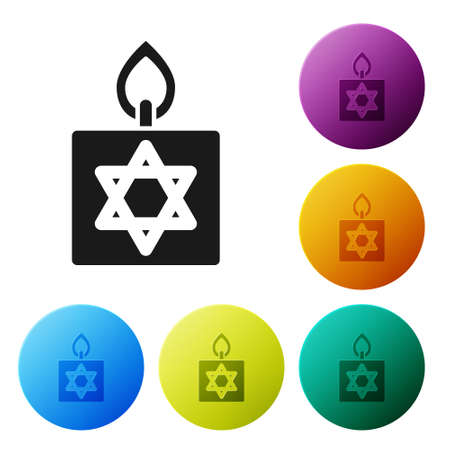 Black Burning candle in candlestick with star of david icon isolated on white background. Cylindrical candle stick with burning flame. Set icons in color circle buttons. Vector