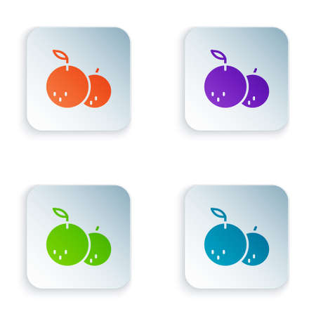 Color Tangerine icon isolated on white background. Merry Christmas and Happy New Year. Set colorful icons in square buttons. Vector