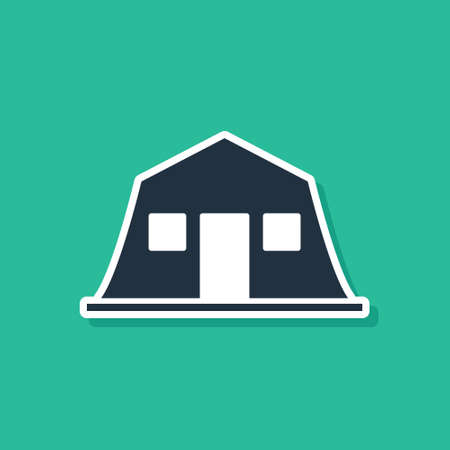 Blue Military barracks station icon isolated on green background. Airstrikes architecture army. Vector Illusztráció