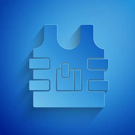Paper cut Bulletproof vest for protection from bullets icon isolated on blue background. Body armor sign. Military clothing. Paper art style. Vector