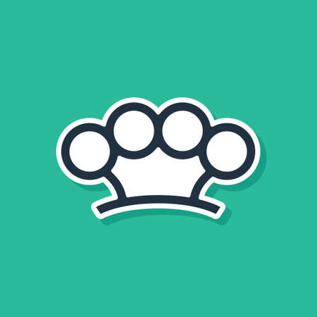 Blue Brass knuckles icon isolated on green background. Vector