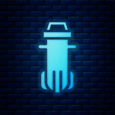 Glowing neon Water filter icon isolated on brick wall background. System for filtration of water. Reverse osmosis system. Vector