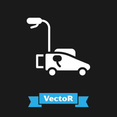 White Lawn mower icon isolated on black background. Lawn mower cutting grass. Vector