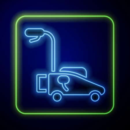 Glowing neon Lawn mower icon isolated on blue background. Lawn mower cutting grass. Vector