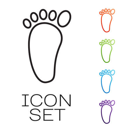 Black line Foot massage icon isolated on white background. Set icons colorful. Vector