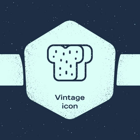 Grunge line Bread toast for sandwich piece of roasted crouton icon isolated on blue background. Lunch, dinner, breakfast snack. Monochrome vintage drawing. Vector