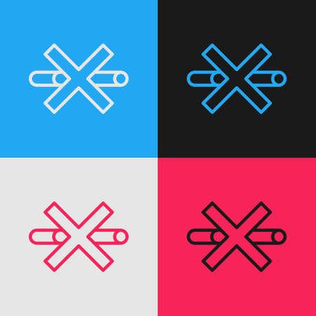 Pop art line No Smoking icon isolated on color background. Cigarette symbol. Vector Illusztráció