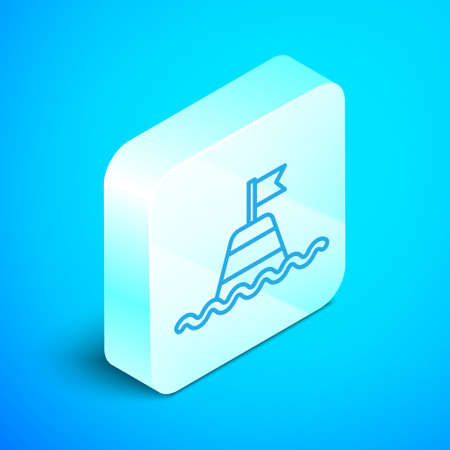 Isometric line Floating buoy on the sea icon isolated on blue background. Silver square button. Vector Иллюстрация