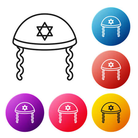 Black line Jewish kippah with star of david and sidelocks icon isolated on white background. Jewish yarmulke hat. Set icons colorful circle buttons. Vector