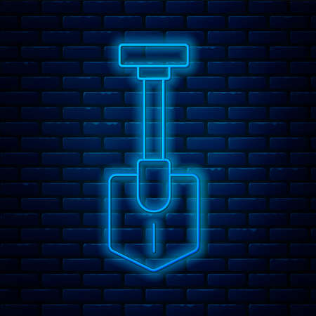 Glowing neon line Shovel icon isolated on brick wall background. Gardening tool. Tool for horticulture, agriculture, farming. Vector