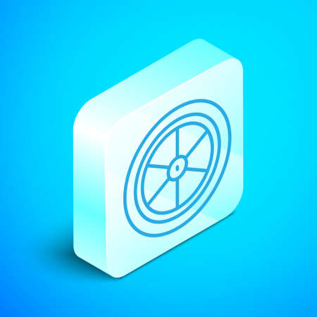 Isometric line Bicycle wheel icon isolated on blue background. Bike race. Extreme sport. Sport equipment. Silver square button. Vector Ilustração