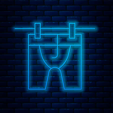 Glowing neon line Drying clothes icon isolated on brick wall background. Clean shirt. Wash clothes on a rope with clothespins. Clothing care and tidiness. Vector Vettoriali
