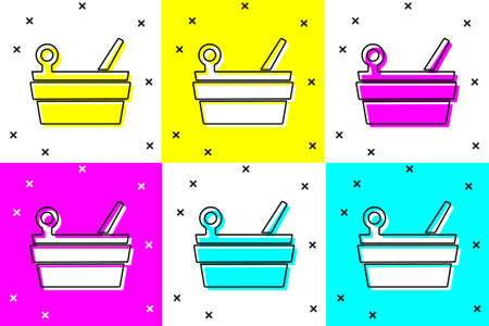 Set Sauna bucket and ladle icon isolated on color background. Vector
