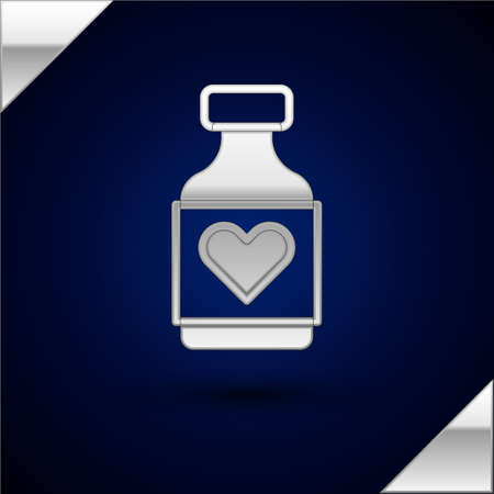Silver Vitamin complex of pill capsule icon isolated on dark blue background. Healthy lifestyle. Vector