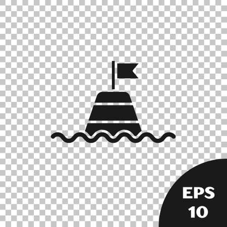 Black Floating buoy on the sea icon isolated on transparent background. Vector