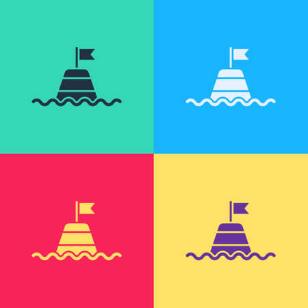 Pop art Floating buoy on the sea icon isolated on color background. Vector Иллюстрация