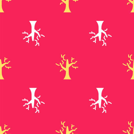 Yellow Withered tree icon isolated seamless pattern on red background. Bare tree. Dead tree silhouette. Vector