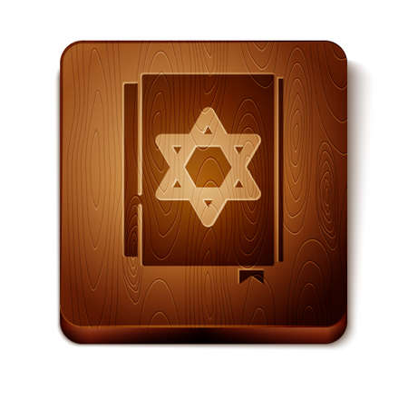 Brown Jewish torah book icon isolated on white background. Pentateuch of Moses. On the cover of the Bible is the image of the Star of David. Wooden square button. Vector Çizim