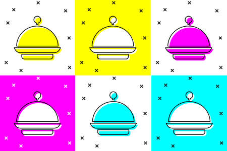 Set Christmas covered with a tray of food icon isolated on color background. Tray and lid sign. Merry Christmas and Happy New Year. Vector
