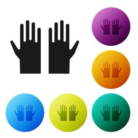 Black Medical rubber gloves icon isolated on white background. Protective rubber gloves. Set icons in color circle buttons. Vector Çizim