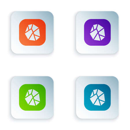Color Salt stone icon isolated on white background. Set colorful icons in square buttons. Vector Ilustração