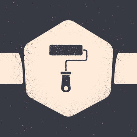 Grunge Paint roller brush icon isolated on grey background. Monochrome vintage drawing. Vector