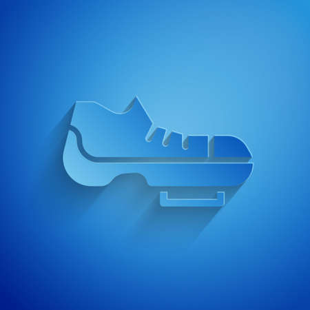 Paper cut Triathlon cycling shoes icon isolated on blue background. Sport shoes, bicycle shoes. Paper art style. Vector Vettoriali