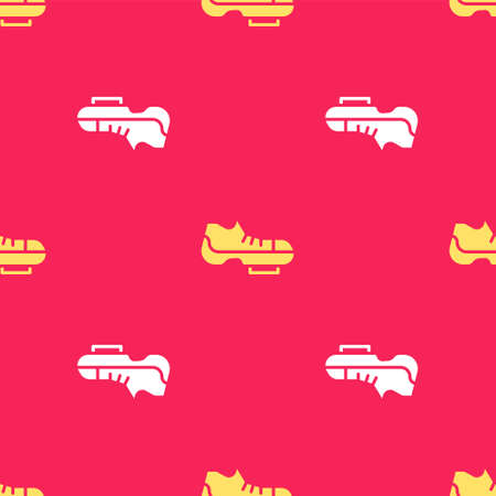 Yellow Triathlon cycling shoes icon isolated seamless pattern on red background. Sport shoes, bicycle shoes. Vector