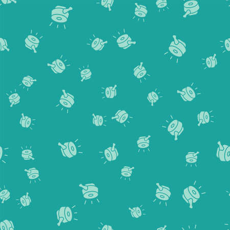 Green Bicycle bell icon isolated seamless pattern on green background. Vector