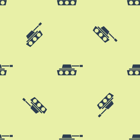 Blue Military tank icon isolated seamless pattern on yellow background. Vector