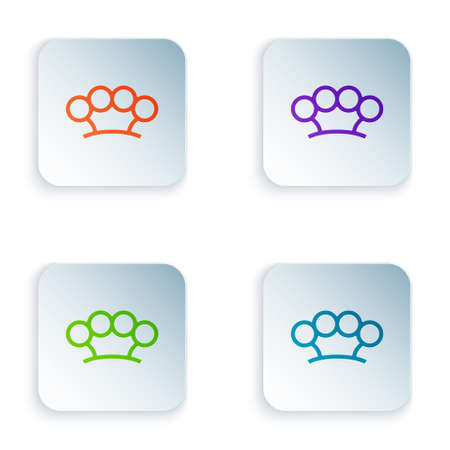 Color Brass knuckles icon isolated on white background. Set colorful icons in square buttons. Vector