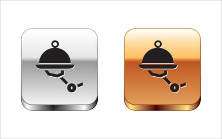 Black Waiter robot with covered plate icon isolated on white background. Artificial intelligence, machine learning, cloud computing. Silver-gold square button. Vector