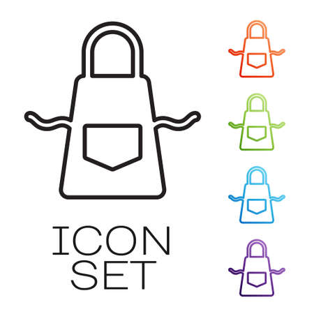Black line Kitchen apron icon isolated on white background. Chef uniform for cooking. Set icons colorful. Vector