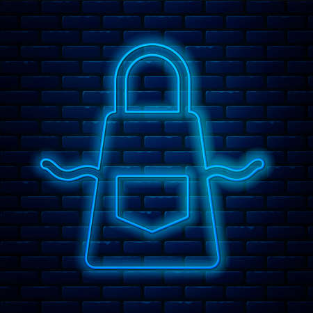 Glowing neon line Kitchen apron icon isolated on brick wall background. Chef uniform for cooking. Vector 矢量图像