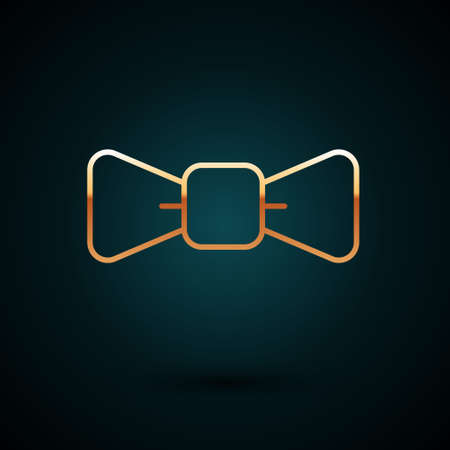 Gold line Bow tie icon isolated on dark blue background. Vector 矢量图像