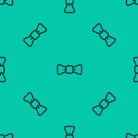 Blue line Bow tie icon isolated seamless pattern on green background. Vector