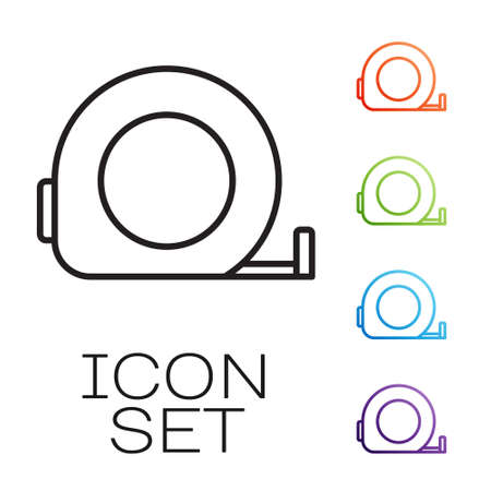 Black line Roulette construction icon isolated on white background. Tape measure symbol. Set icons colorful. Vector