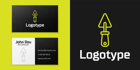 Logotype line Trowel icon isolated on black background. Logo design template element. Vector