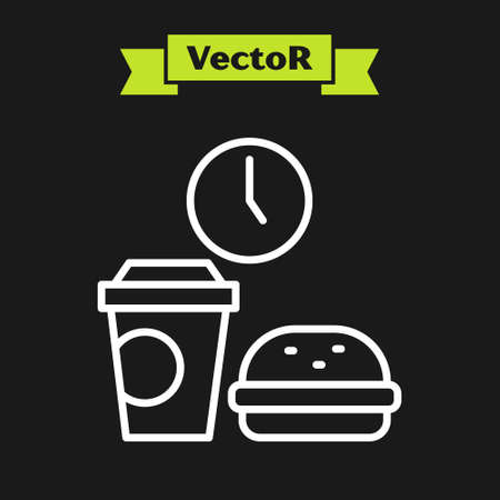 White line Fast food time icon isolated on black background. Vector