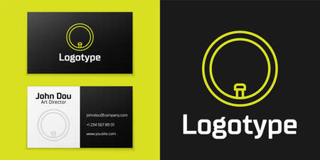 Logotype line Bicycle wheel icon isolated on black background. Bike race. Wheel tire air. Sport equipment. Logo design template element. Vector