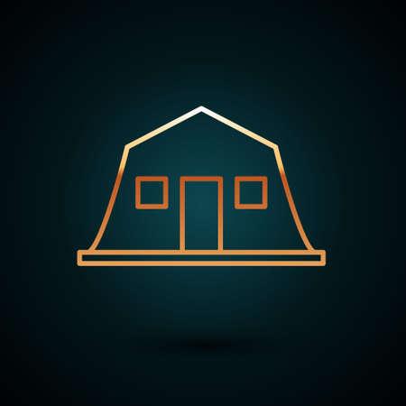 Gold line Military barracks station icon isolated on dark blue background. Airstrikes architecture army. Vector Illusztráció