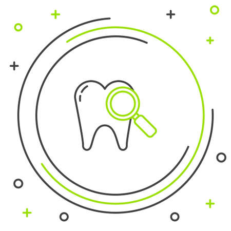 Line Dental search icon isolated on white background. Tooth symbol for dentistry clinic or dentist medical center. Colorful outline concept. Vector