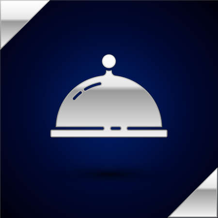 Silver Covered with a tray of food icon isolated on dark blue background. Tray and lid. Restaurant cloche with lid. Kitchenware symbol. Vector