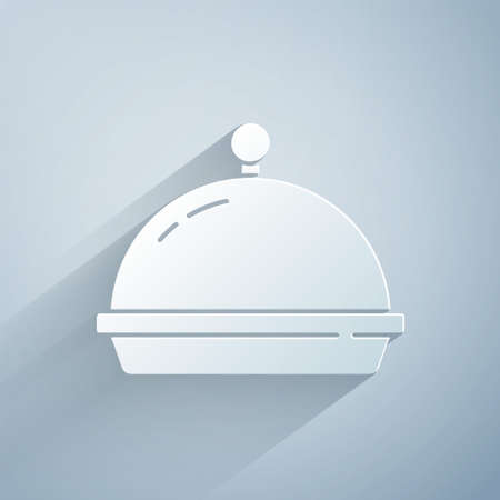 Paper cut Covered with a tray of food icon isolated on grey background. Tray and lid. Restaurant cloche with lid. Kitchenware symbol. Paper art style. Vector 矢量图像