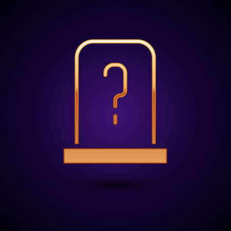 Gold Grave with tombstone icon isolated on black background. Vector