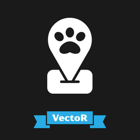 White Location pet grooming icon isolated on black background. Pet hair salon. Barber shop for dogs and cats. Vector 矢量图像