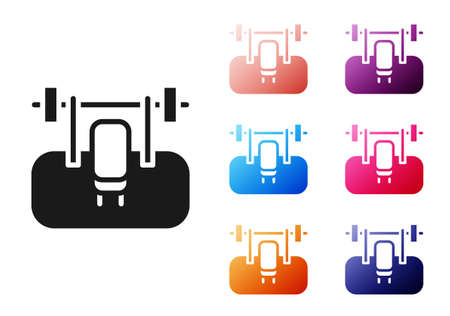 Black Bench with barbel icon isolated on white background. Gym equipment. Bodybuilding, powerlifting, fitness concept. Set icons colorful. Vector