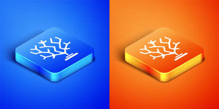 Isometric Coral icon isolated on blue and orange background. Square button. Vector Çizim